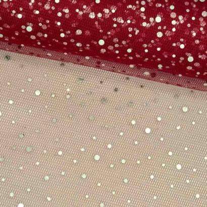 Tela de tul con chispitas plateadas rosa lomo