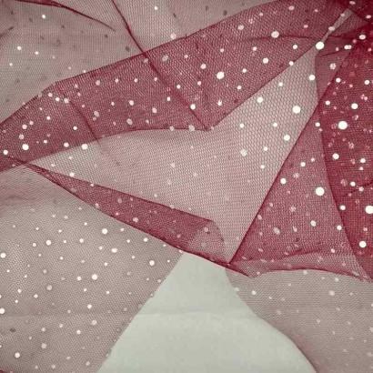 Tela de tul con chispitas plateadas rosa arrugada
