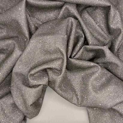 Tela de malla brillante plata arrugada
