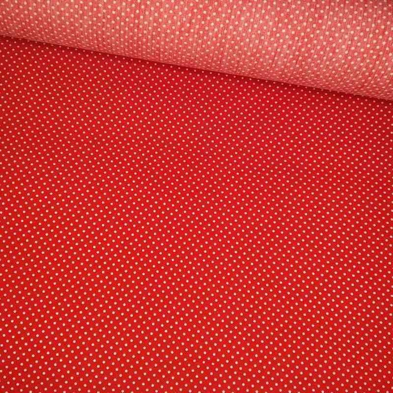 Tela de algodón de topos 3mm rojo blanco lomo