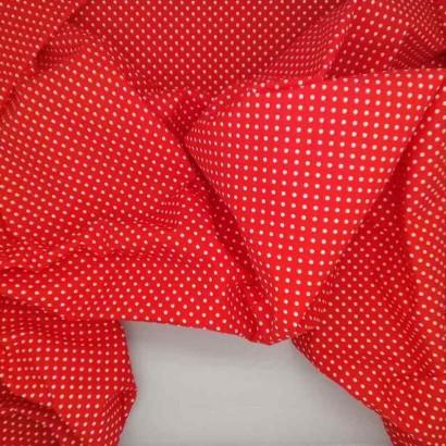 Tela de algodón de topos 3mm rojo blanco arrugada