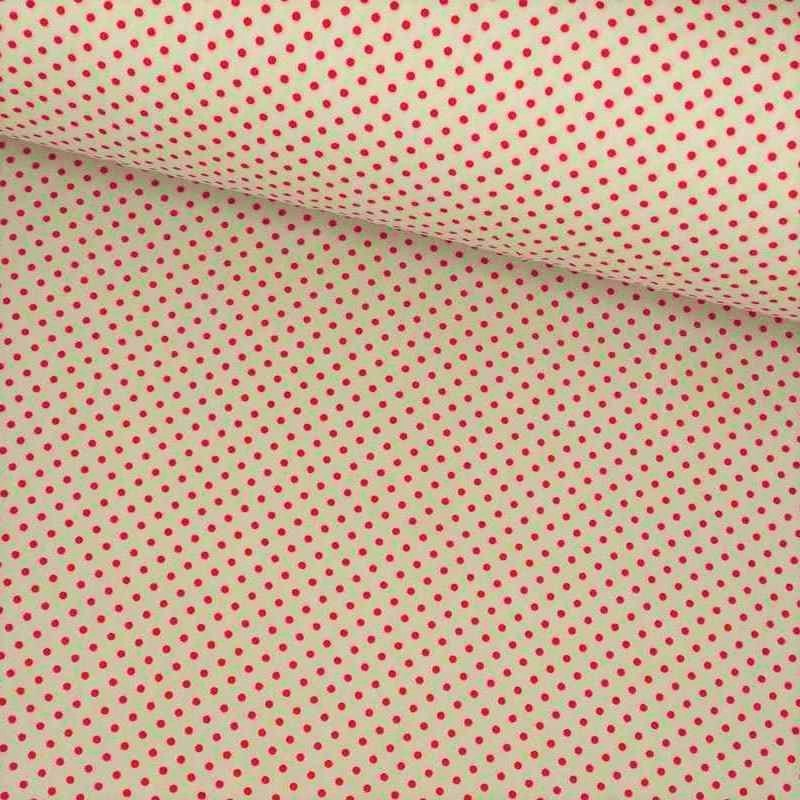 Tela de algodón de topos 3mm blanco rojo lomo