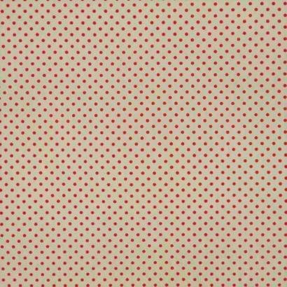 Tela de algodón de topos 3mm blanco rojo