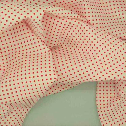Tela de algodón de topos 3mm blanco rojo arrugada