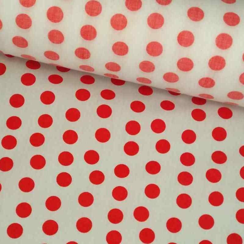 Tela de algodón de topos desordenados blanco y rojo lomo