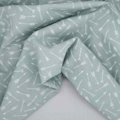 Tela de algodón flechas azul arrugada