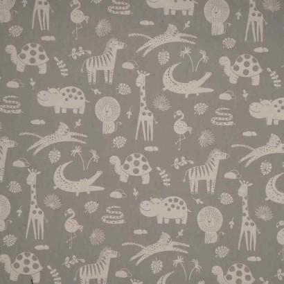 Tela de algodón animales gris