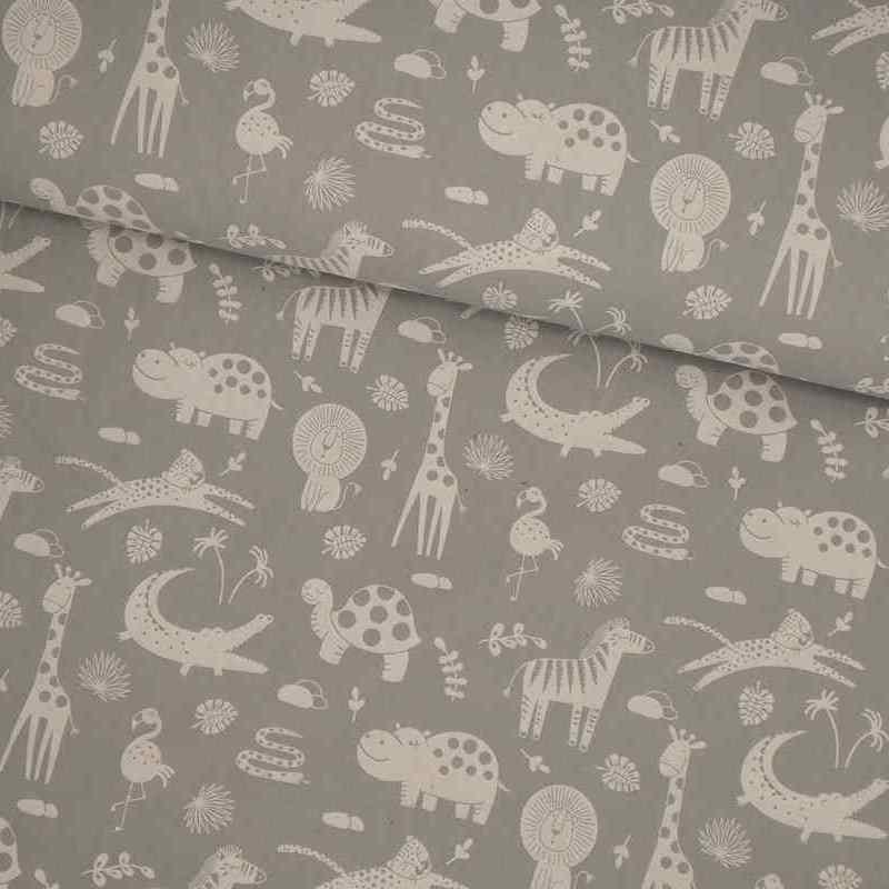 Tela de algodón animales gris lomo