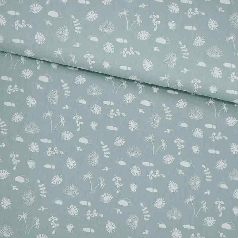 Tela de algodón flora azul lomo