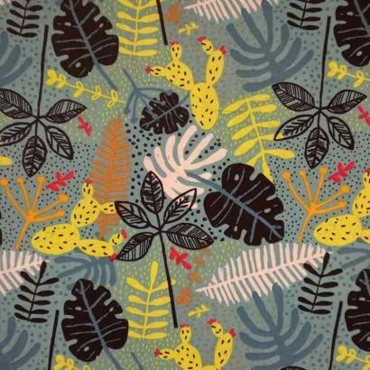Tela de algodón hojas selva