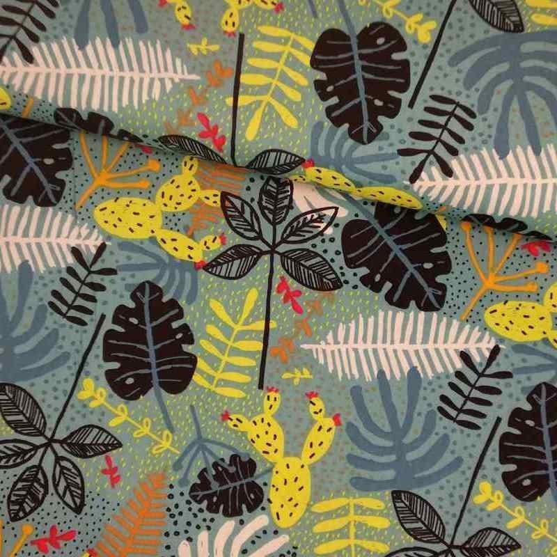 Tela de algodón hojas selva lomo
