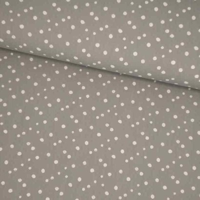 Tela de algodón topos pintados gris lomo