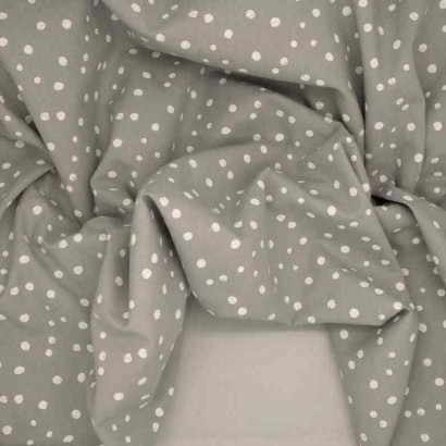 Tela de algodón topos pintados gris  arrugada