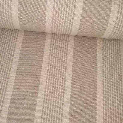 Tela de loneta gruesa de raya desigual beige lomo