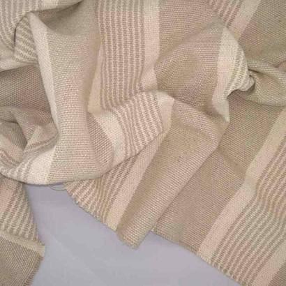 Tela de loneta gruesa de raya desigual beige arrugada