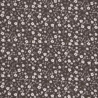 Tela de algodón flor blanca en fondo negro