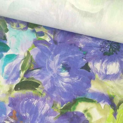 Tela de algodón flores grandes lomo