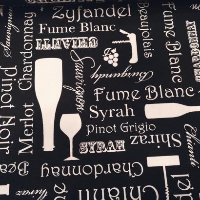 Tela de mantel con_botellas y copas lisa