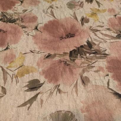 Tela de loneta flores rosas lisa
