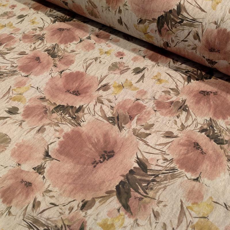 Tela de loneta flores rosas lomo