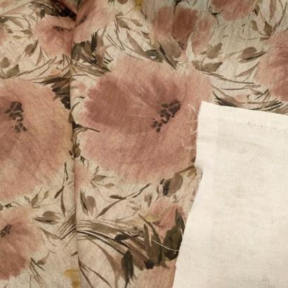 Tela de loneta flores rosas reves