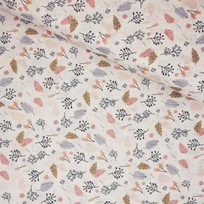Tela de algodón con hojas lomo