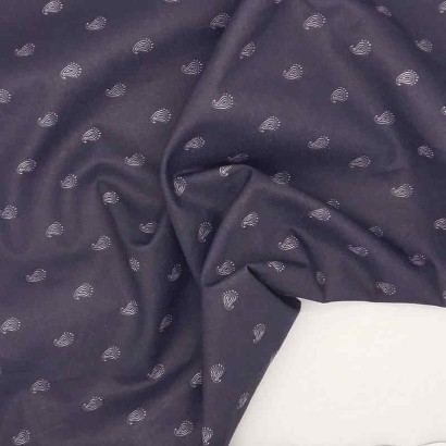 Tela de algodón cachemira azul arrugada