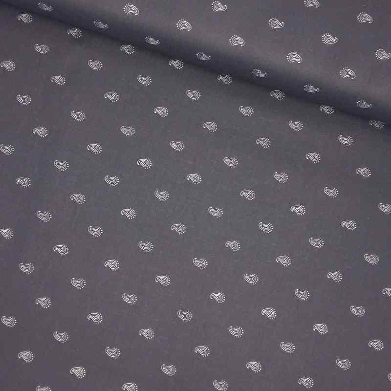 Tela de algodón cachemira azul lomo