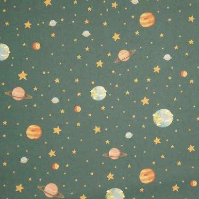 Tela de algodón con planetas lisa