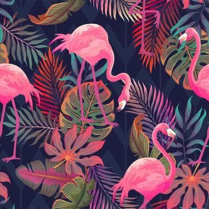 Tela de algodón con flamencos y hojas lisa