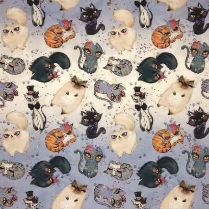 Tela de algodón con gatos lisa
