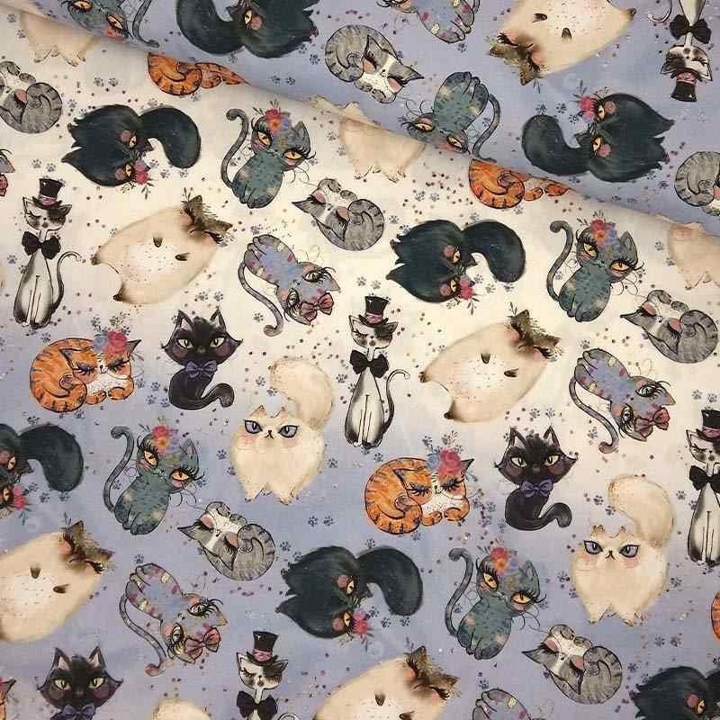 Tela de algodón con gatos lomo