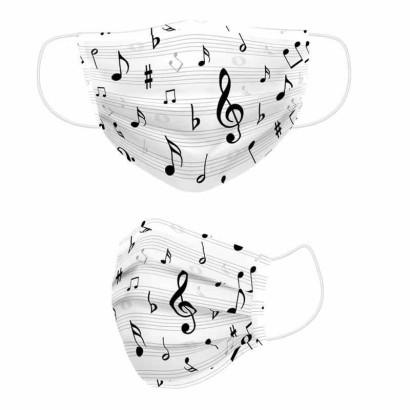 Tela de algodón notas musicales mascarillas