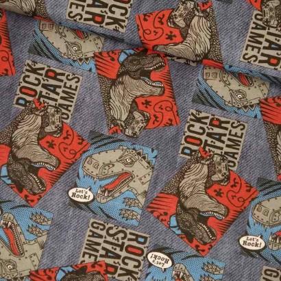 Tela de algodón dinosaurios lomo