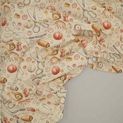 Tela de algodón útiles de costura arrugada