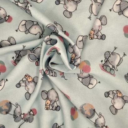 Tela de algodón elefante arrugada