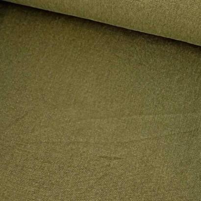 Tela de lino verde musgo lomo