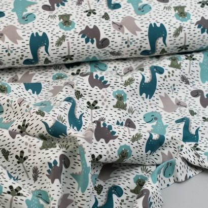 Tela de punto camiseta dinosaurios lomo