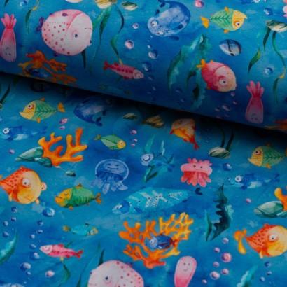 Tela de punto chandal peces colores lomo