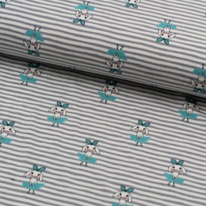 Tela de punto camiseta rayas y bailarinas lomo