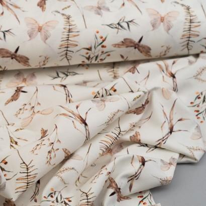 Tela de punto camiseta libelulas arrugada