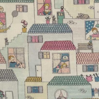 Tela de algodón casitas 2