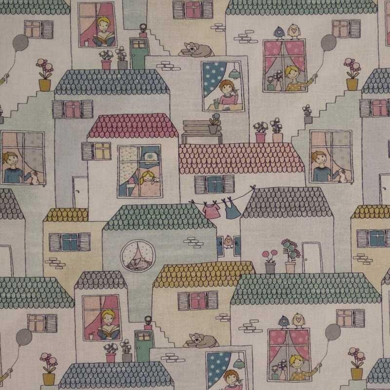 Tela de algodón casitas 3