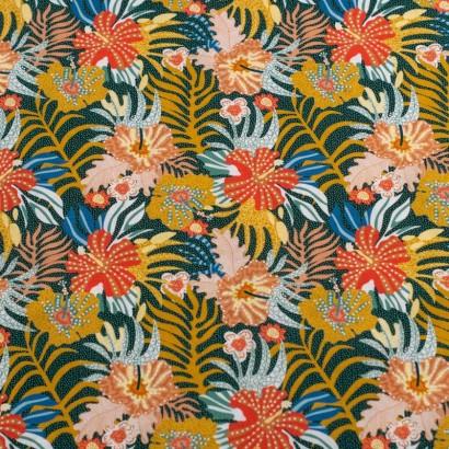 Tela de algodón retro flores hawaianas lisa