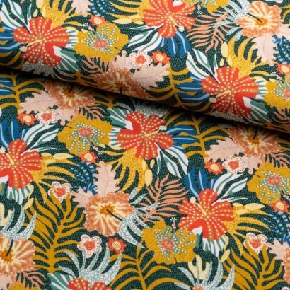 Tela de algodón retro flores hawaianas lomo