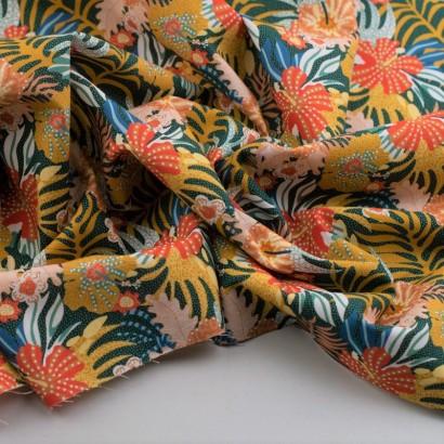Tela de algodón retro flores hawaianas arrugada