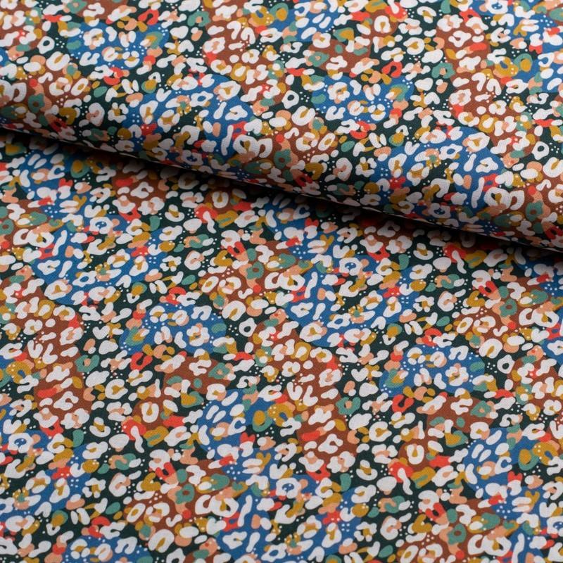 Tela de algodón retro animal print colorido lomo