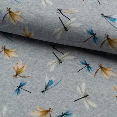 Tela de punto camiseta libelulas colores lomo