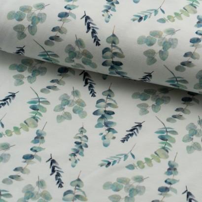 Tela de punto camiseta hojas eucalipto lomo