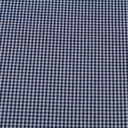 Tela seersucker vichy azul marino lisa